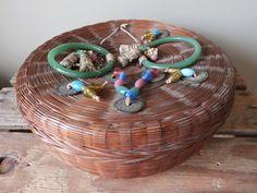 Vintage Bakelite Wicker Sewing Basket by Reminisce47 on Etsy