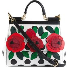 Dolce & Gabbana medium 'Sicily' tote ($2,055) found on Polyvore featuring bags, handbags, tote bags, black, floral tote bag, floral handbag, floral purse, black purse and polka dot tote bag