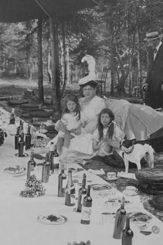 Grand Duchess Maria Pavlovna with her two granddaughters, Princesses Maria and Kira, during a picnic