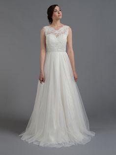 ac2d5ce83cdb Ivory sleeveless lace wedding dress with tulle skirts   Tulip Bridal Simple  Lace Wedding Dress,