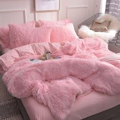 Fluffy Duvet Cover With Pillow Cover 3 Pieces Set – room inspo – einrichtungsideen wohnzimmer Room Ideas Bedroom, Teen Bedroom, Bedroom Decor, Master Bedroom, Bed Room, Master Suite, Bedroom Furniture, Bedroom Curtains, Bedroom Colors
