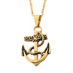 Gold Navy Anchor Necklace