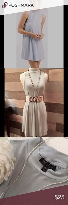 🌟Re-Posh🌟Pale Blue High Neck Jersey Tunic Dress I really wanted this adorable little Tunic Dress to fit. I'm an XS(0 or 2)- and this Dress is a Size- US 4...🌺 it's just a bit too big for me, especially the length. Shoulder to Hem is 33 inches. ...Find this little dress a home🌸🌸 Belt And Necklaces Not Included🌻🌻🌞 OFFERS WELCOME 🌸🌟🌟 Topshop Dresses