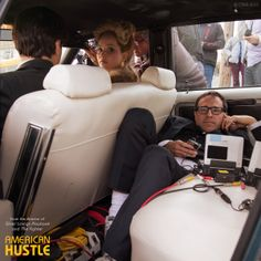 "On the set of ""American Hustle"", Front passenger seat: Jennifer Lawrence. Back seat: Co-writer/director David O. Lawrence and Russell have made just three movies together: ""Silver Linings Playbook"" ""American Hustle"" and ""Joy"" American Hustle, Jennifer Lawrence, Scene Photo, Movie Photo, Best Director, David, Film Inspiration, Film School, The Best Films"