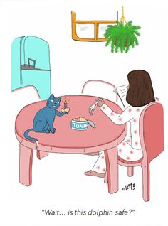 It's Blue Cat's birthday and Chloe is being ever so kind to share her albacore tuna with him. Of course, as always, Blue Cat has something to say about it, but it is his birthday...!