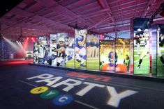 The logo of ESPN the Party, which illuminated the floor near the entrance, included a playful take on the New York subway system. #graphics #specialevent #corporateevent