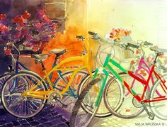 The spring is finally here, so I decided to paint something happy. I recall that last summer I was thrilled by the beauty of colored bicycle...