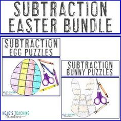 SUBTRACTION Easter Math Games - Add to a Distance Learning Packet for Home | 1st, 2nd, 3rd grade, Activities, Basic Operations, Easter, Games, Homeschool, Math, Math Centers