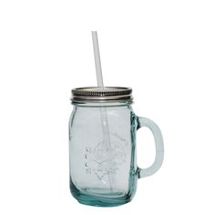 Grehom Recycled Glass Mug; 550 ml Glass Tumbler with lid and straw