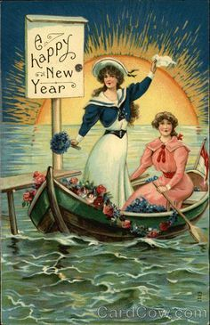vintage happy new year postcard - Cerca con Google