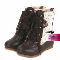 Chocolate Brown Leather Lace up Girl Girls Winter Fashion Dress Boots SKU-133297