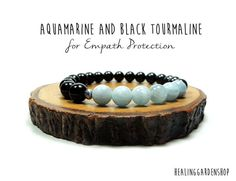 **Use promo code TRES10 for a 10% discount! :)** Aquamarine and Black Tourmaline Bracelet // Empath Protection // Energy Bracelet // Reiki Jewelry // Healing Garden Shop