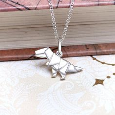 Origami T-rex Dinosaur Silver Charm Necklace by LertViZutte.