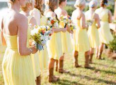 yellow bridesmaids dresses and cowboy boots