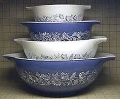 NEVER USED IN BOX Vintage PYREX COLONIAL MIST Cinderella 4 pc Mixing Bowl Set #Pyrex: sold $86