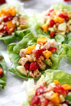 Poppyseed Chicken Fruit Salad Lettuce Wraps