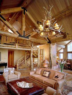 #BigWoodWednesday  www.tetonheritagebuilders.com  Lower Granite Ridge Great Room