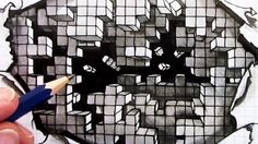 How to Draw an Optical Illusion: Falling Cubes 3D: Hole in Paper