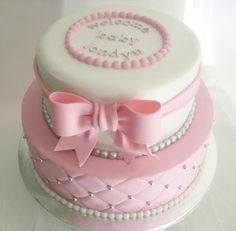 So pretty! Baby shower cake.  use pink and blue, or just green or yellow.