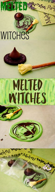 My most popular Halloween recipe ever ever. Fun, no bake, simple enough to make wit Melted Witches Candy! My most popular Halloween recipe ever ever. Fun, no bake, simple enough to make with the kids! Halloween Sweets, Halloween Baking, Halloween Goodies, Holidays Halloween, Halloween Kids, Halloween Crafts, Halloween Halloween, Preschool Halloween, Holiday Desserts