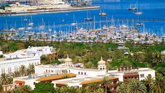 Vista de la zona de Ciudad Jardin, con el muelle deportivo al fondo, Las Palmas de Gran Canaria