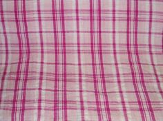 """6 yds Cherry Madras Plaid from a Vintage Bolt Spring Summer Sundress Fabric Yardage 60s 70s Retro Cloth Hot Pink Easter Sewing Supplies 46"""" wide 6+ yds $ 23"""