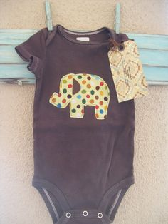 Baby boys brown mod elephant applique by ShabbyDesertBoutique, $14.00