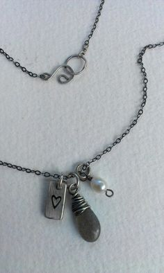 Handstamped Heart with wire wrapped Labradorite Gem and Cultured Pearl, Oxidized Sterling Necklace, Valentine's Day Necklace