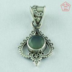 Perfect Design 925 Sterling Silver & Prehnite Stone Pendant P2629…