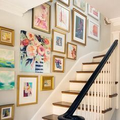 Gallery wall - love the gold frames