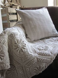 Is this knitted? No, this is crochet. My Mother-in-law made one, double bed size, with fringe. I'd LOVE to have the pattern.
