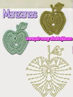 esquema crochet de manzana Appliques Au Crochet, Crochet Motifs, Freeform Crochet, Crochet Diagram, Crochet Stitches Patterns, Crochet Chart, Thread Crochet, Crochet Doilies, Crochet Flowers