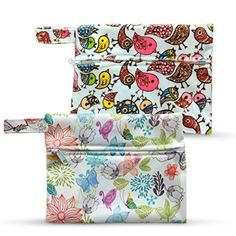 Dutchess Wet Bags - Ideal for Reusable Menstrual Cloth Pads and Cups - Breast Pads - Incontinence Underwear or as Diaper Wet Dry Washable Storage Bag Diaper Storage, Bag Storage, Bird Prints, Floral Prints, Cloth Diaper Inserts, Sanitary Napkin, Menstrual Pads, Thing 1, Cloth Pads