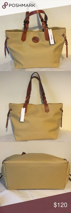 """NWT Dooney&Bourke Khaki Purse NWT large Dooney&Bourke khaki purse in perfect condition! This beautiful purse has a red interior and closes with a one main button and still has original tags, measurements are 12"""" x 12.5, open to offers! Dooney & Bourke Bags Shoulder Bags"""