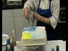 How to Airbrush a cake « Cake Decorating Cake Decorating Supplies, Cake Decorating Techniques, Cake Decorating Tutorials, Cookie Decorating, Cupcakes, Cupcake Cakes, Airbrush Cake, Novelty Birthday Cakes, Icing Techniques