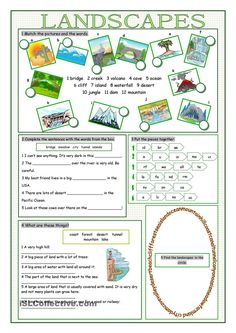 Landscapes Vocabulary Exercises   FREE ESL  worksheets