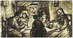 Vincent van Gogh Five Persons at a Meal Letter Sketches