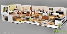 Casa 3d pared corte diseño de planta de piso