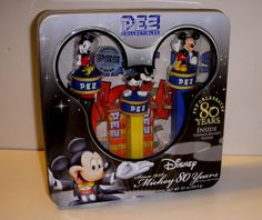 Pez Dispensers, Mickey Mouse, Set of 3 in Tin Box