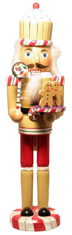 Cupcake Head Gingerbread Baker with Lollipop 15 Inch Wooden Christmas Nutcracker