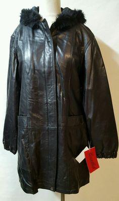 Excelled Black 100% Leather Parka Coat Size Medium M Hood Zipper  Deep Pockets  #Excelled #BasicJacket #Casual