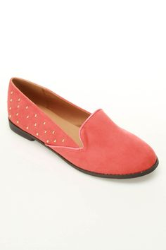 Studded Coral Loafers