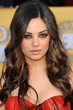 Love this color of brunette with the carmel highlights!