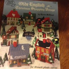 Olde English Christmas Shopping Village Plastic Canvas Pattern Book For 10 Mesh