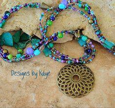 Bohemian Necklace, Lotus Flower Jewelry, Colorful Peacock Layered Beaded Necklace, Original Handmade Bohemian Designs by Kaye Kraus