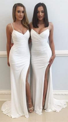 white long slit prom dress with train, 2018 long prom dresses formal evening dresses