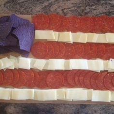 Pepperoni and cheese with blue tortilla chips, 4th of July! 4th of July apps. 4th of July appetizer