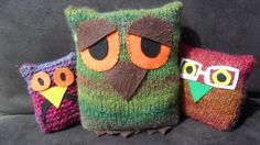 Teaching children to knit - with free owl patterns - Happymaking Designs - for happymaking designs