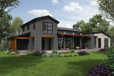 Modern Style House Plan - 3 Beds 2.5 Baths 4583 Sq/Ft Plan #48-694 Exterior - Rear Elevation - Houseplans.com