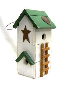 Green Roof Farmhouse Birdhouse with Trellis and Ladder Perch on Etsy, $27.00